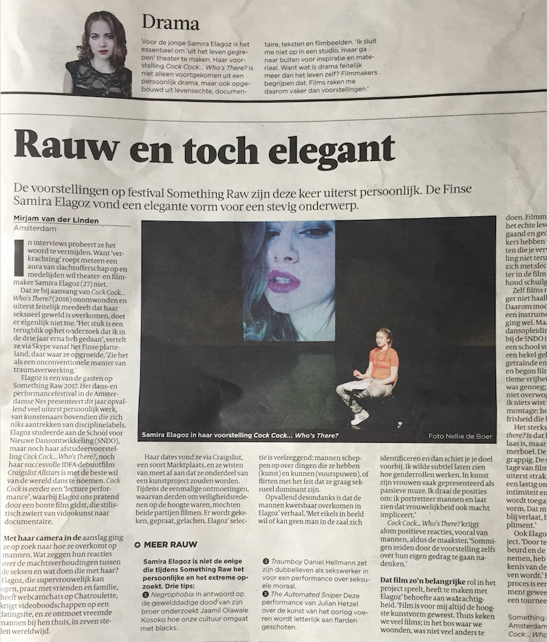 "VOLKSKRANT     Interview:  ""Raw yet elegant"""