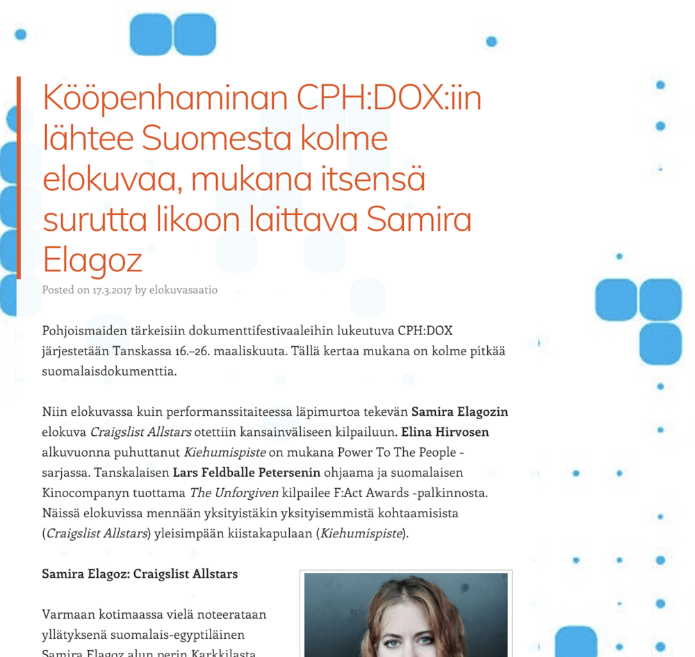 "SESSIO.FI     Interview: ""Finnish films at CPH:DOX"""