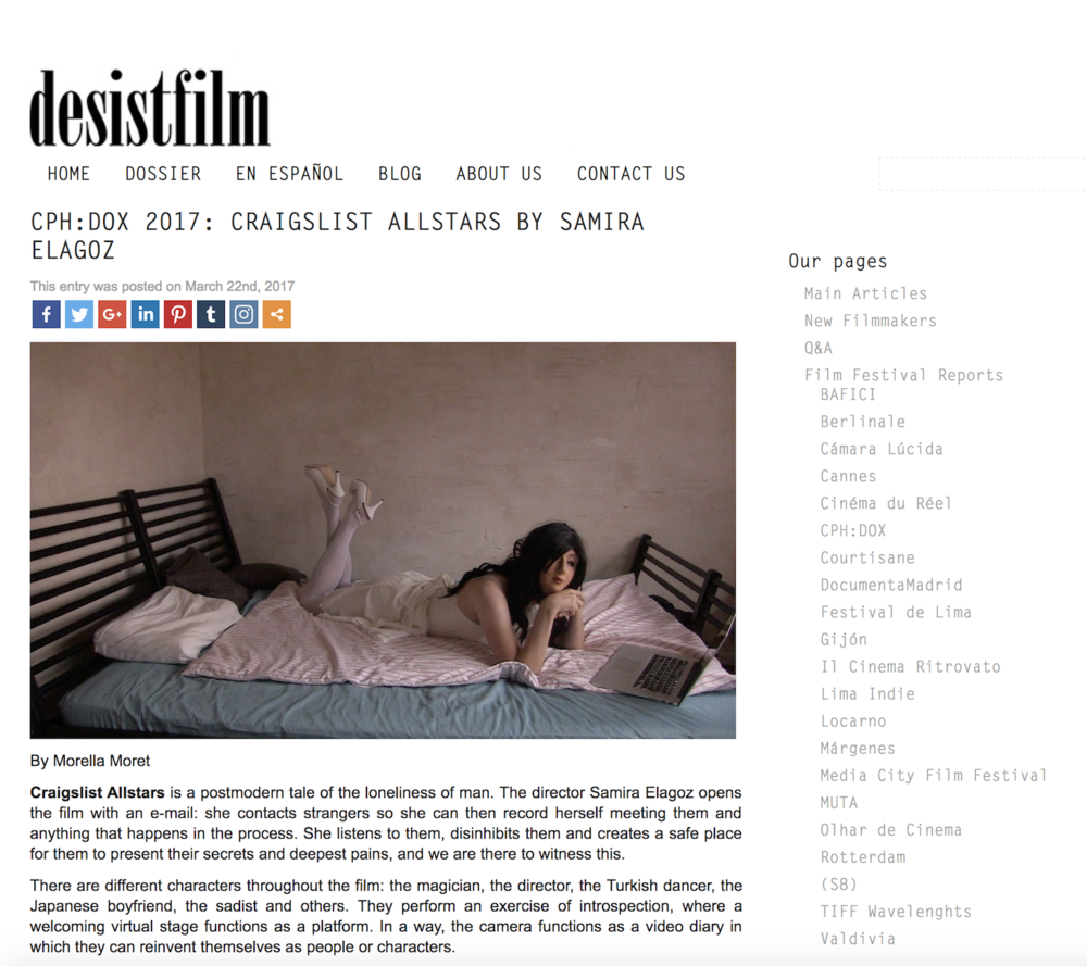 "Desist Film     Review: "" Craigslist Allstars is a postmodern tale of the loneliness of man."""