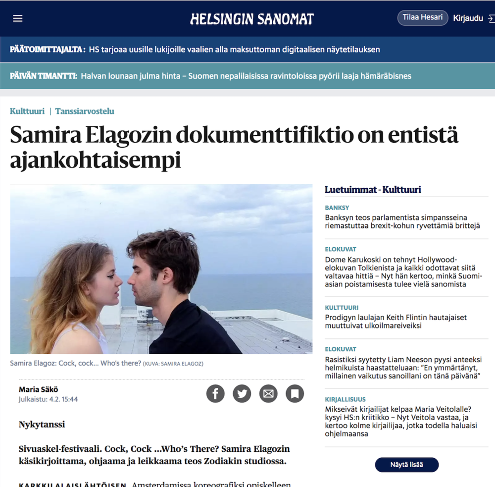 """HS.fi     Review:  """"Dense like a book, story line close to perfection combined with confessionalism typical to performance all produces a unique art work which after-images ja contradictions one has to ponder for long. The performance's freedom and courage, that has been refined with strong theoretical thinking still feels very radical"""""""