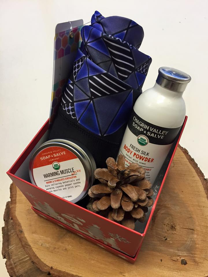 Relax and Restore Gift Set $80  - Warming Salve and Fresh Silk Body Powder from Chagrin Valley Soap & Salve Company accompanied by LuLaRoe Jade Athletic Leggings