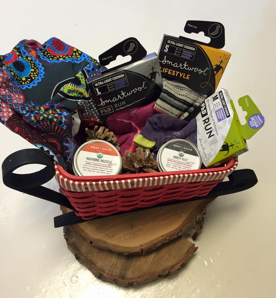 Zen Package $110  - LuLaRoe OS Buttery Leggings, 2 Pair of Smartwool Running Socks & Smartwool Light Cushion Socks from Arthur's Shoe Tree. Accompanied by Warming Muscle & Minty Feet Salve from Chagrin Valley Soap & Salve Company