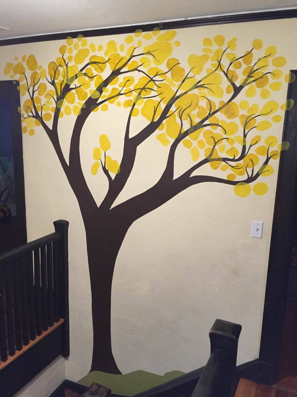 Stairway Tree -- Latex and Acrylic -- 2015 Private Residence