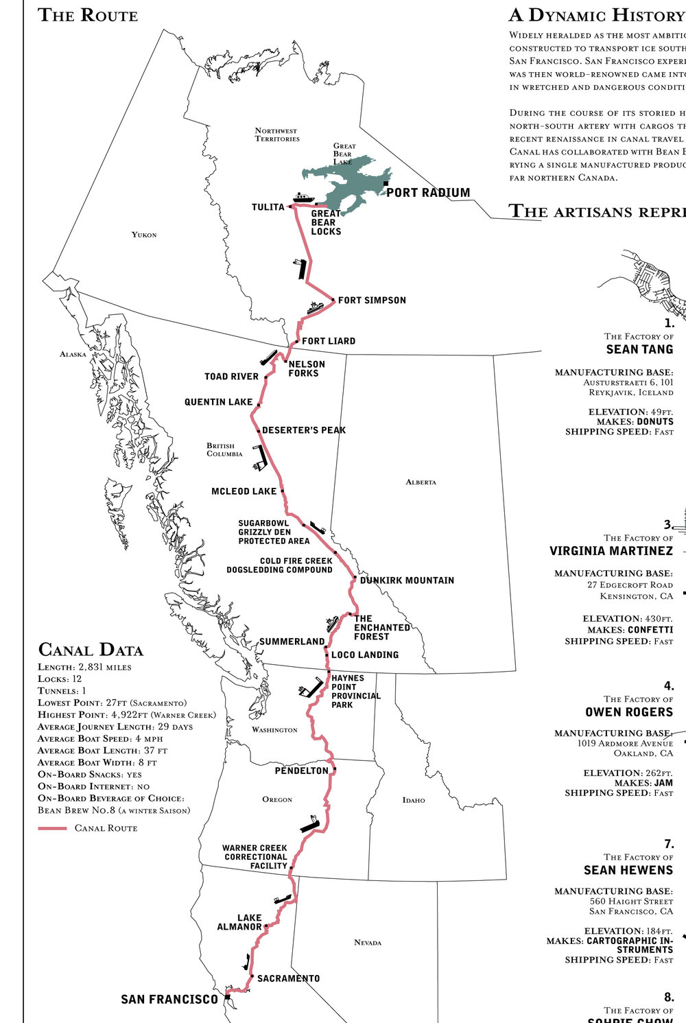 The canal's route