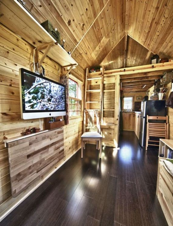Interior Mainly Wood Of A Gable Roof Small And Tiny House
