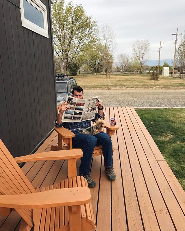 Just a man and his tiny house with his tiny Yorkie on his not-so-tiny deck.