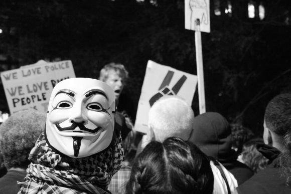 "8 October 2011 The Guy Fawkes mask worn by ""V,"" the anarchist revolutionary in the comic book series ""V For Vendetta,"" has become a symbol of popular revolution."
