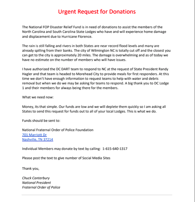 Urgent Request for Donations — Fraternal Order of Police