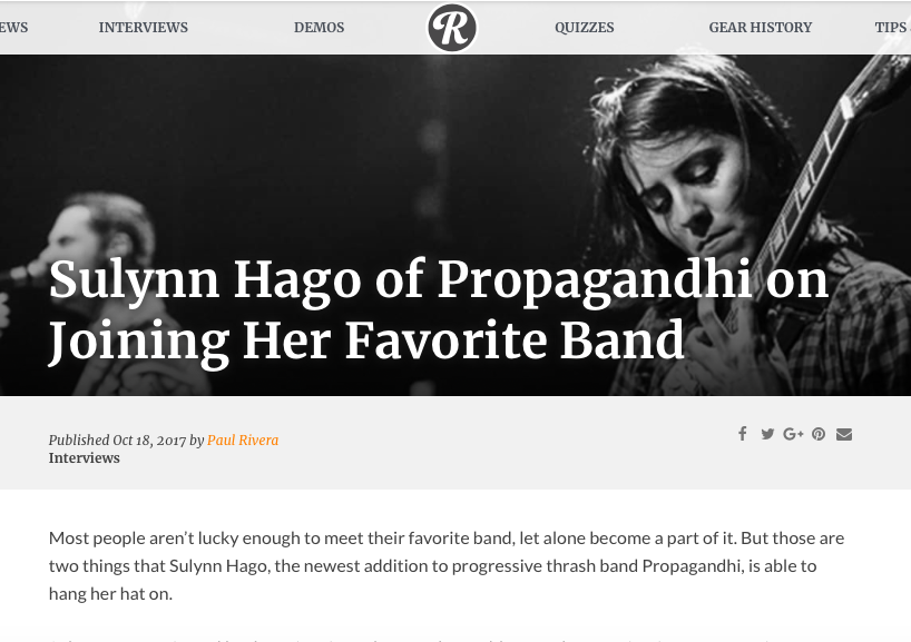 Reverb Interview:Sulynn Hago of Propagandhi on Joining Her Favorite Band  -