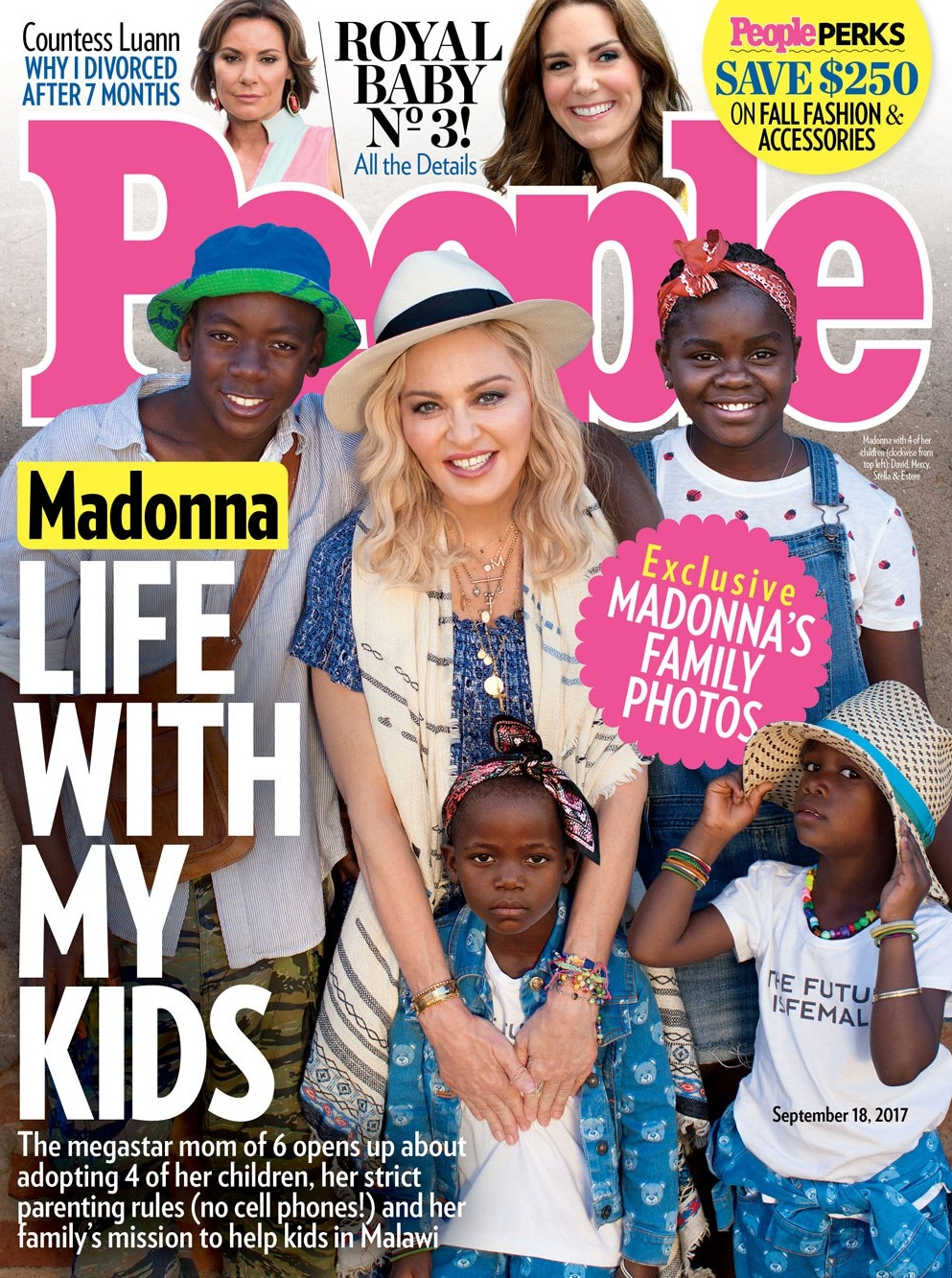 Madonna in the Let's Dance Black Onyx Necklace and Personalized Charm Necklace on the cover of People Magazine September 2017