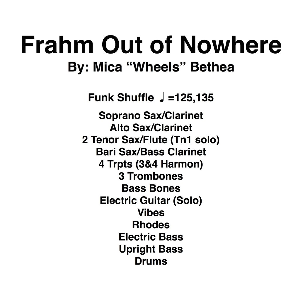 Frahm Out of Nowhere PDF's (Score and Parts)
