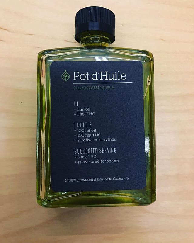 What is @potdhuile ? Our favorite infused olive oil! Their 1:1 ratio of CBD and THC allows for a balanced body and mind high that will leave you feeling relaxed (total stress-melter!) or more buzzed if you increase the amount you use.  One thing that's so great about this company is their excellent labeling and directions. It's clear how many milligrams you will get with every teaspoon! We recommend mixing your desired dose with non-medicated olive oil, and tossing with an arugula salad. Delicious! ... #cannabisinfusions #edibles #californiaedible #cannabis #oliveoil #microdose #microdosing #syncup