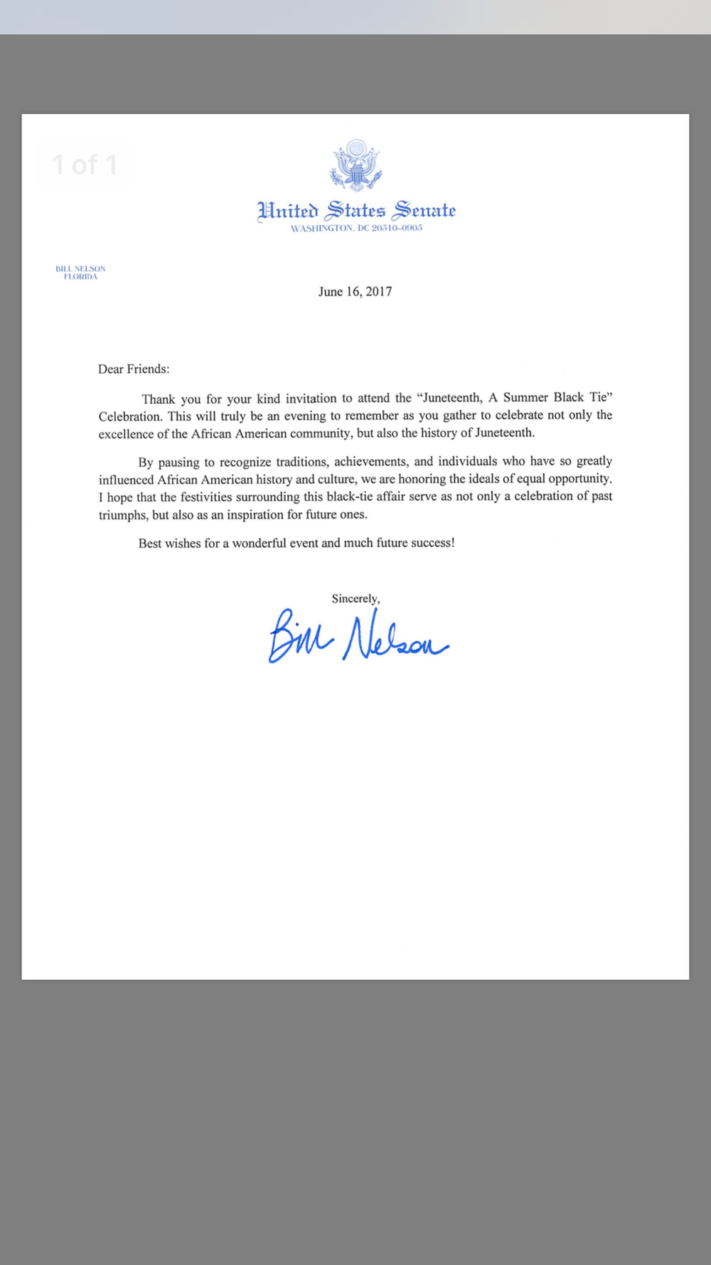 Thanks so very much to Senator Bill Nelson who took the time out to write a letter in appreciation for our Juneteenth weekend celebration. We are grateful and extremely honored to be recognized for the work and dedication we've put into impacting the culture of our community. #wearetheinfluence