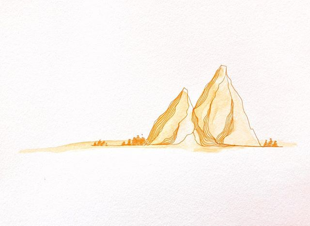 More mountains! This time they're in watercolor (and pen) 😍 . . . #watercolor #mountains #14daysofdrawing #fearlessart