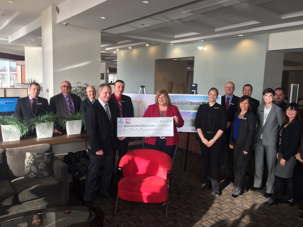 Hilton Saint John Donates $10,000 with a matching donation from the Saint John Hotel Association to bring the total contributed to $20,000.