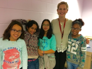 LiveGirlTalk mentor Sara Nelson with members of her group at the Carver Center.