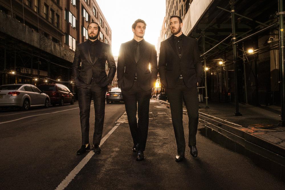 Mika Zibanejad, Brady Skjei, and Kevin Hayes of the New York Rangers  John Varvatos x Casino Night, 2019