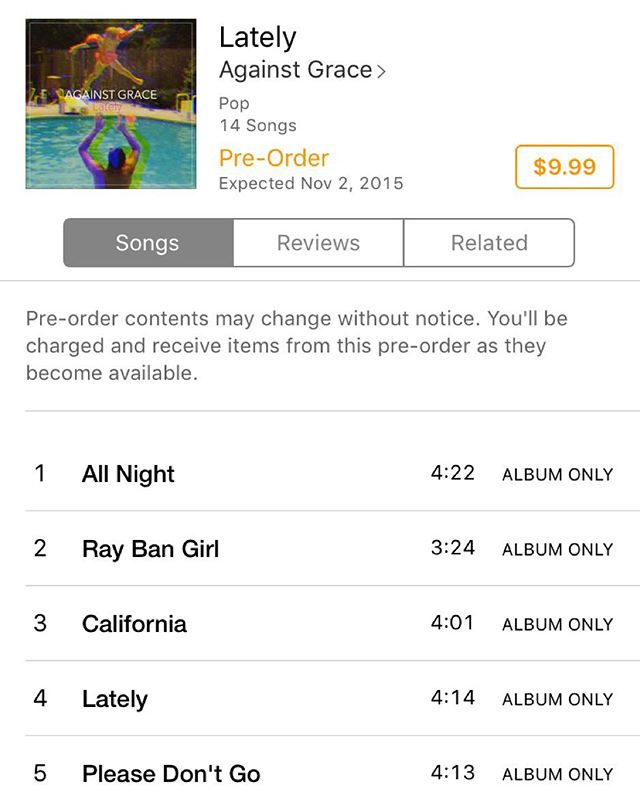 Look what's available for pre-order!! Our new album #Lately is out now on iTunes. Order early and receive a new track #MadeUpLanguage instantly for free!  #newmusic #newmusictuesday #newtracktuesday #preorder #ag