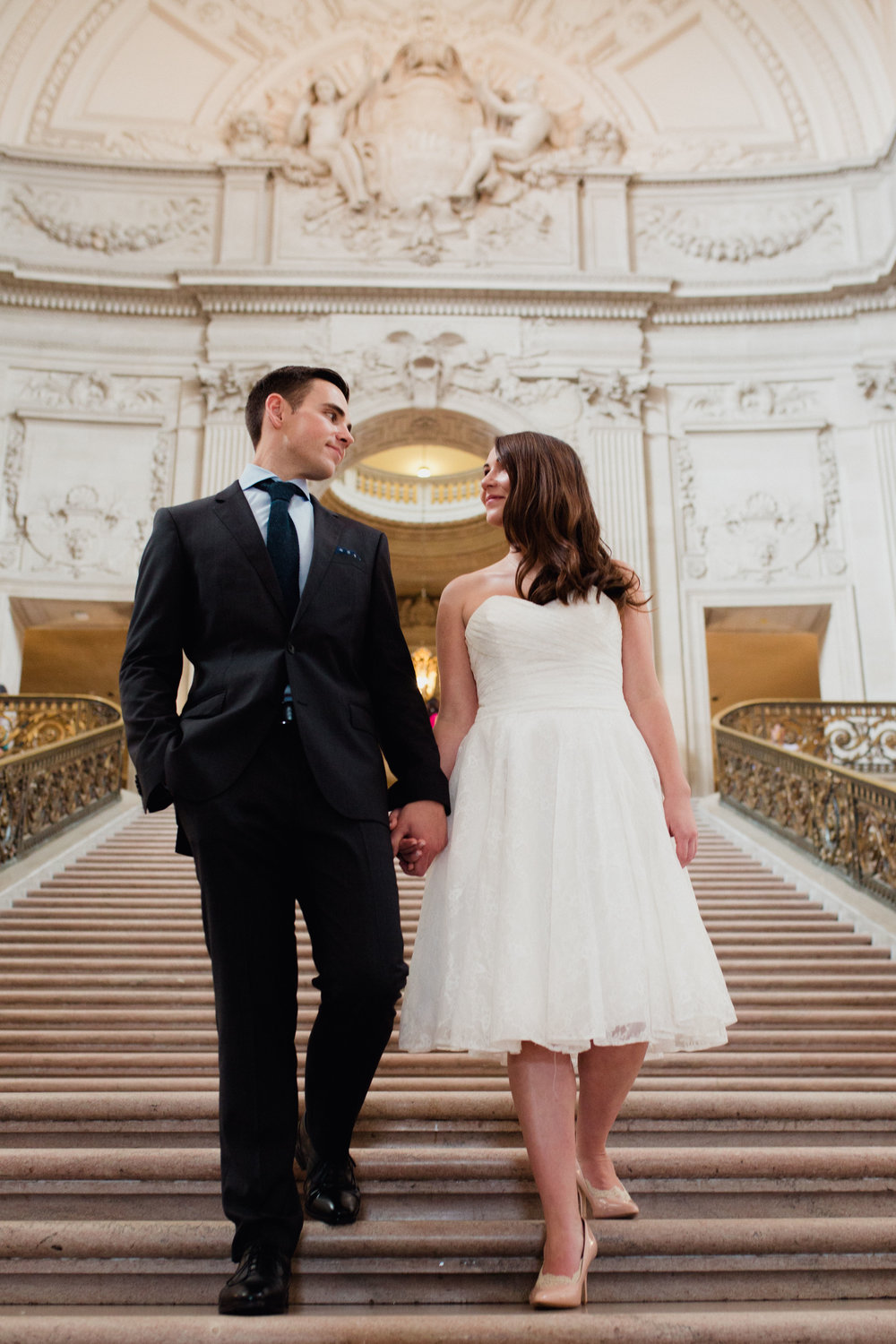 Copy of Walking down the grand stairwell at Sf City Hall