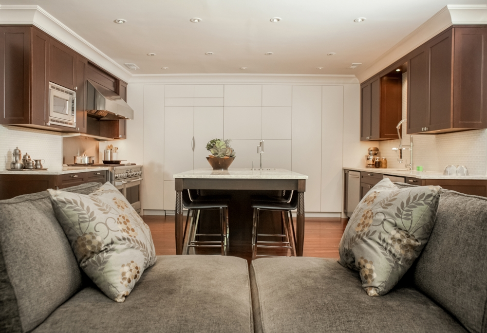 Custom Tête-à-Tête Sofa, Concealed Cabinetry, Custom Kitchen and Leg Design