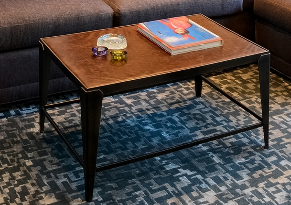 Steel and Leather Coffee Table