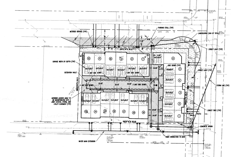 Proposed Site plan for 19-unit townhome development