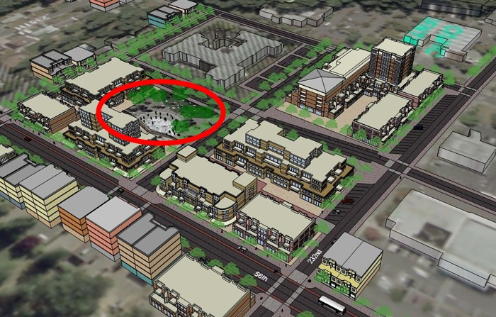 Town Square park (circled in red) as illustrated in the 2007 Town Center Plan.