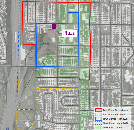 """Location of the Plaza in the """"Town Center Heart"""". (SCJ Alliance)"""