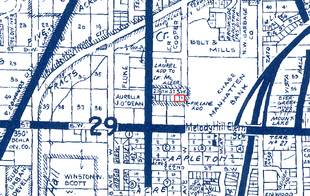 1975 map showing project vicinity. Project parcels highlighted in red.