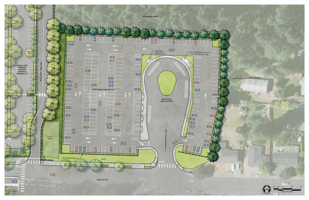 Proposed temporary parking at the 59th Pl W cul de sac