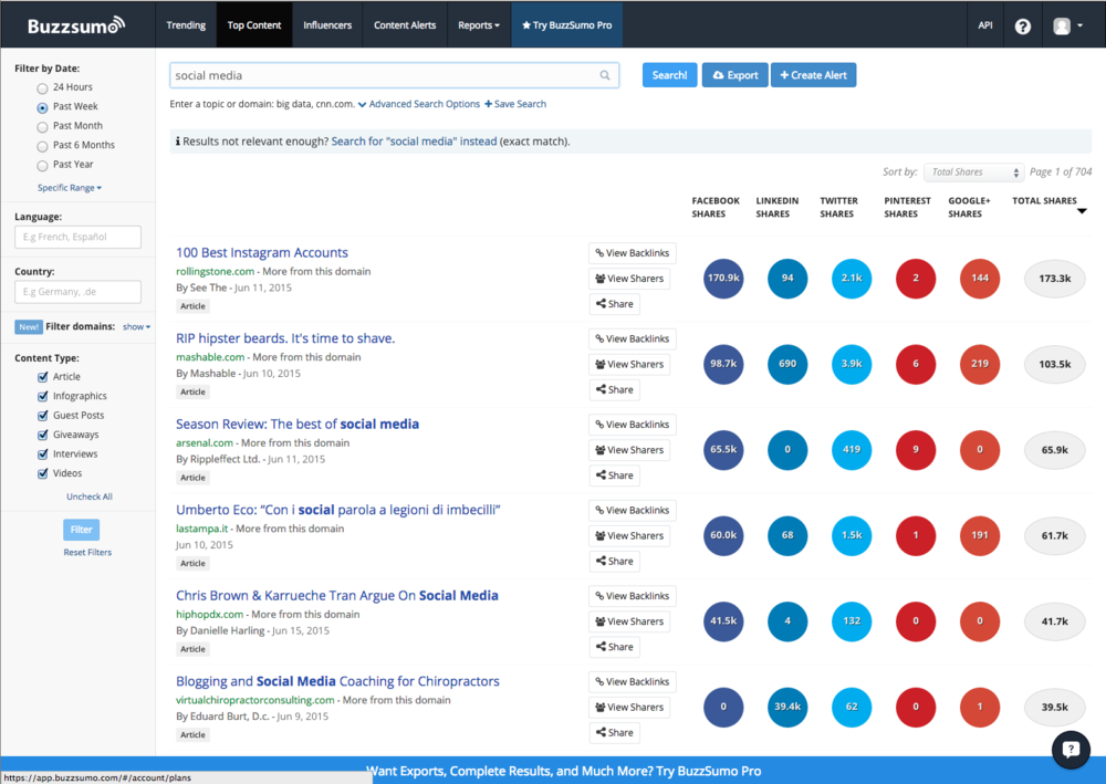 "Buzzsumo results page after searching for the keywords ""social media""."