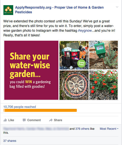 Facebook post that was boosted to gardening enthusiasts in California.