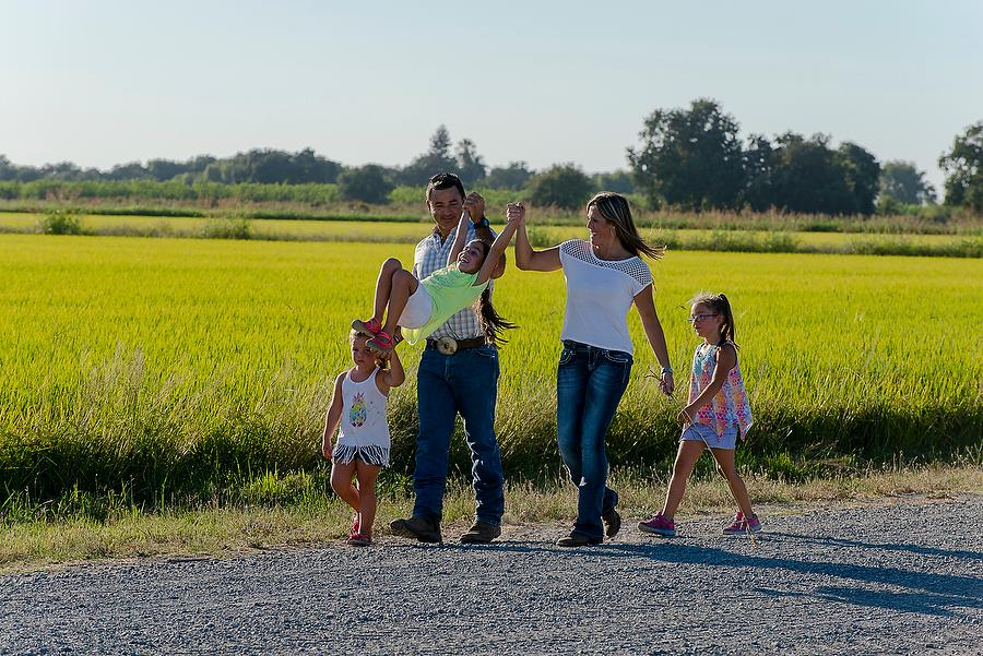 Rice farming is all about family. Brian Baer captured these photos of grower Dominic Nevis, his daughters Madden and Juliana, his girlfriend Estee Holland and her daughter, Kylah.