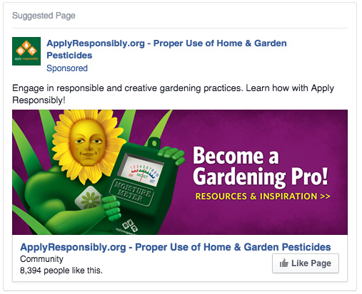 "Facebook ""Page Like"" ad.  645  likes generated from this ad."