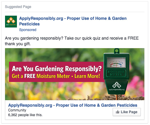 Facebook ad used to drive people to the website to take an informative quiz. Participants received a free moisture meter. Ads generated 1,500+ quizes taken.