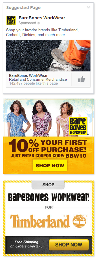 Sample ads from  BareBones WorkWear  digital marketing campaign.