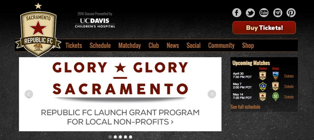 Screenshot of Sacramento Republic FC's website homepage.