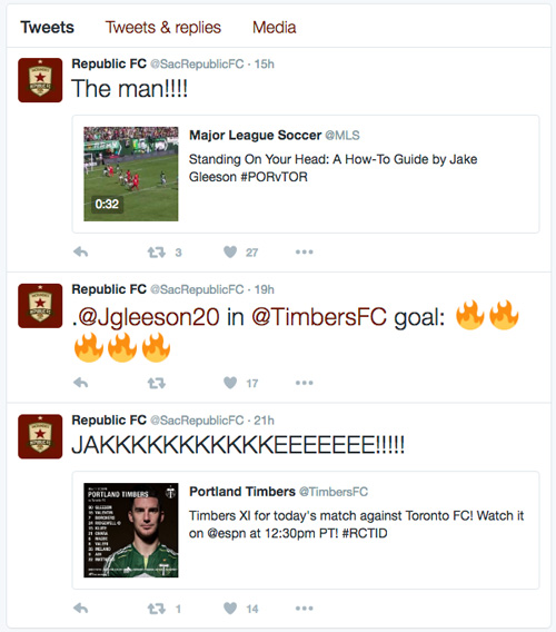 Republic FC takes advantage of Twitter's chronological order for live updates during matches.