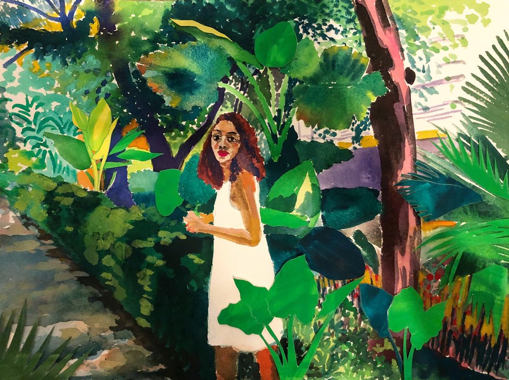 Egyptian Girl in a Mexican Garden