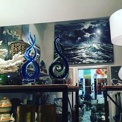 """The Tempest"" painting and window display. Currently available at the Shannon Colburn Designer Showroom."