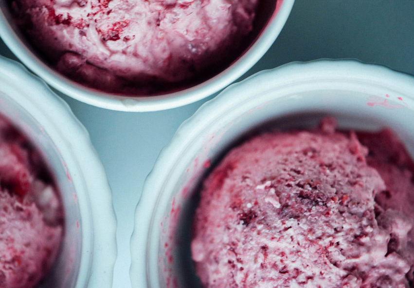 Homemade raspberry ice-cream