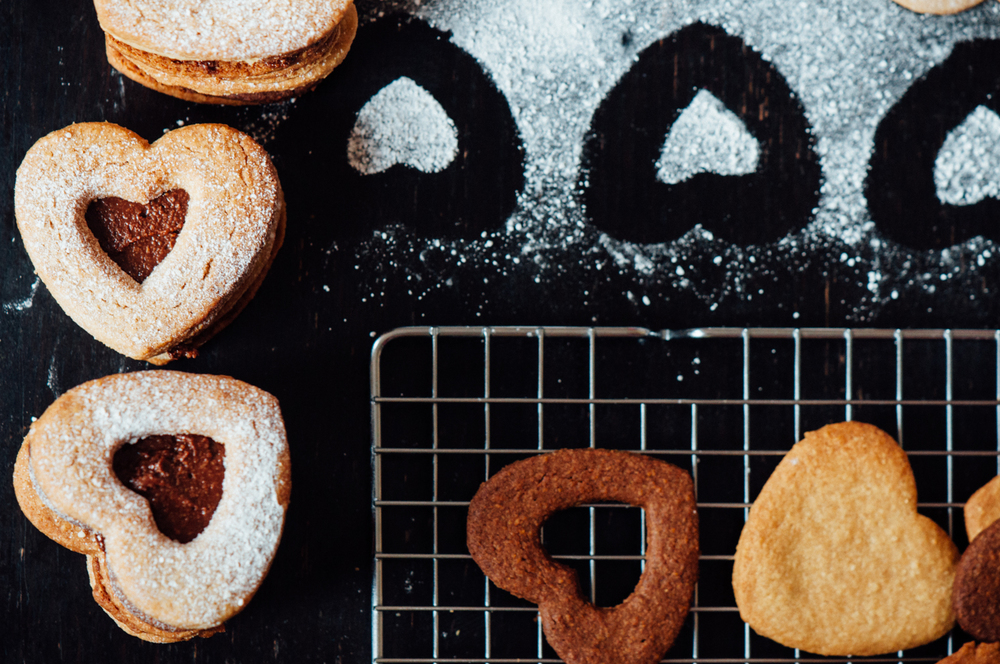 Almond & chocolate linzer cookies