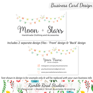 Business card designs ramble road studios bunting business card design customized with your business information reheart Choice Image
