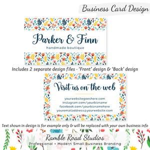Business card designs ramble road studios floral business card design customized with your business information reheart Choice Image