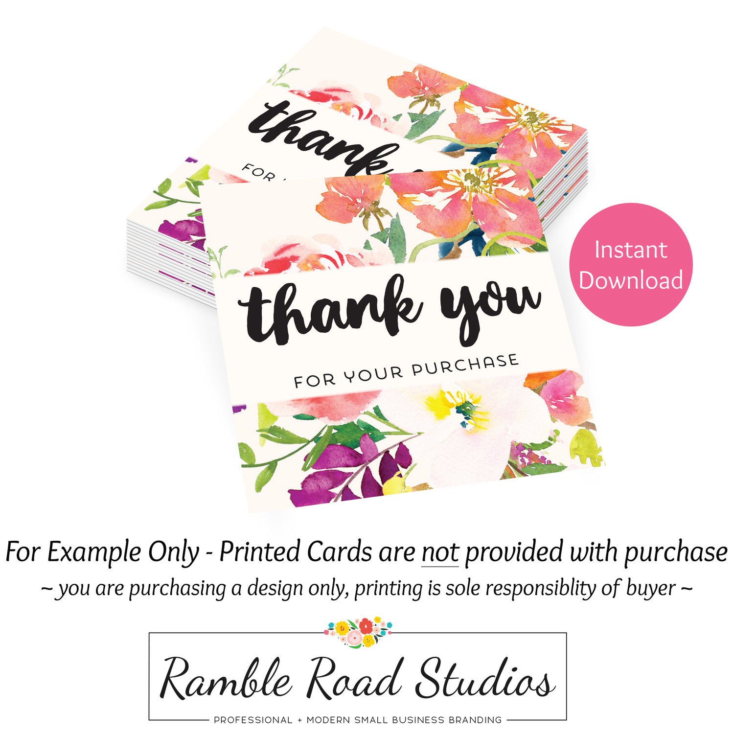 thank you for your order card Thank you for your purchase cards Template editable watercolor design order card Packing note for sellers.