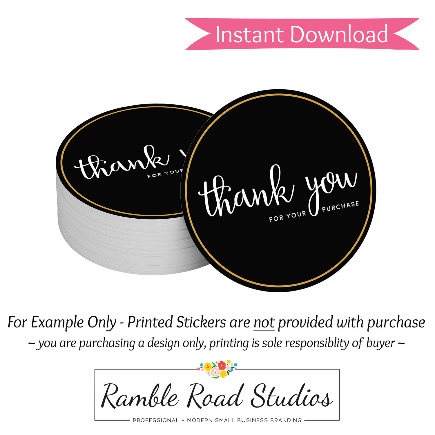 Black gold thank you round sticker design ready to print instant download ramble road studios