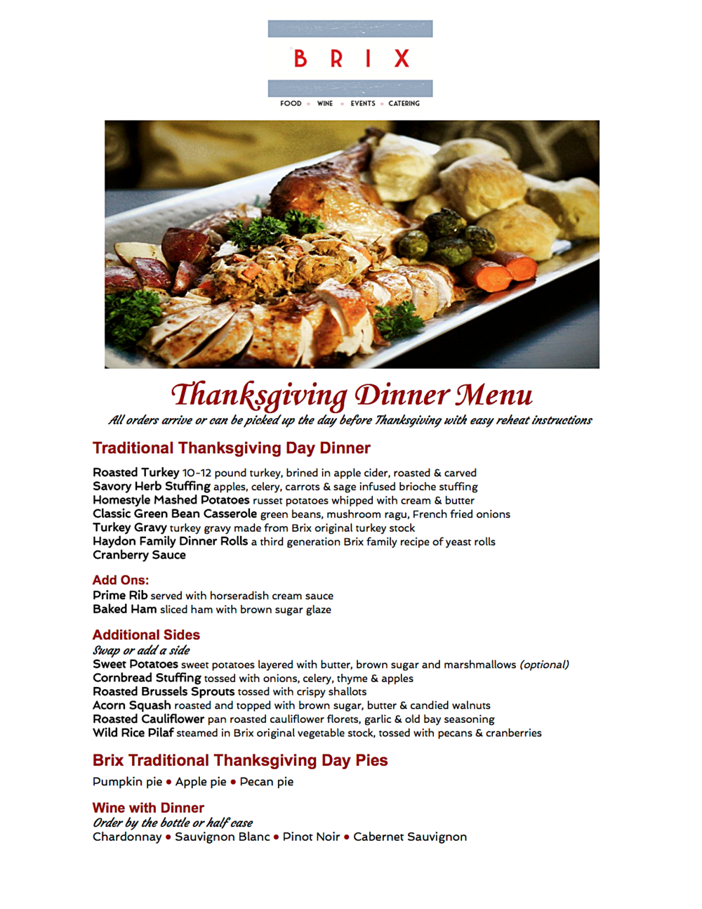 Thanksgiving Made Easy! | Brix Catering & Events