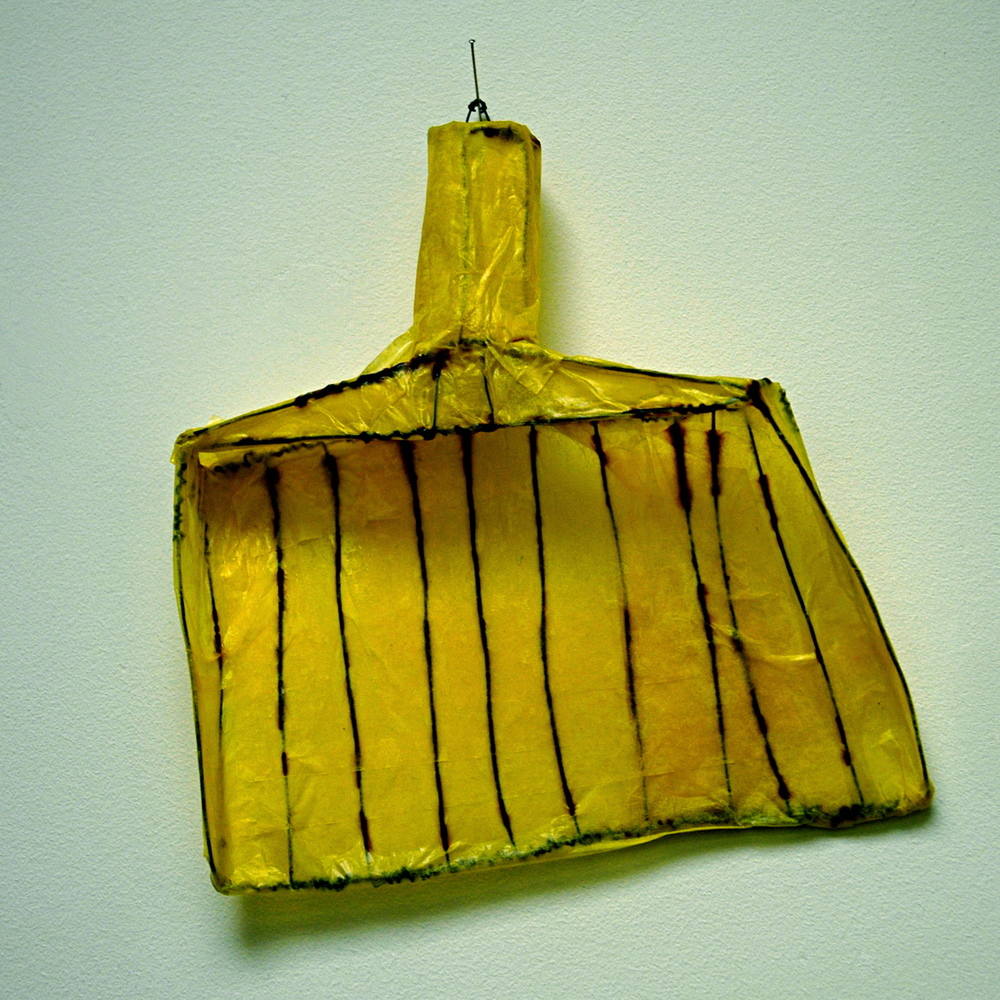 "Dustpan, 2013, wire and paper, 8"" x 8"" x 2"""