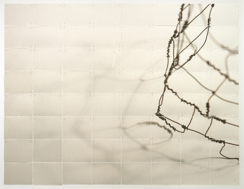 "Scaffold, 2013, torn and pinned photo of wire work, 40"" x 50"""