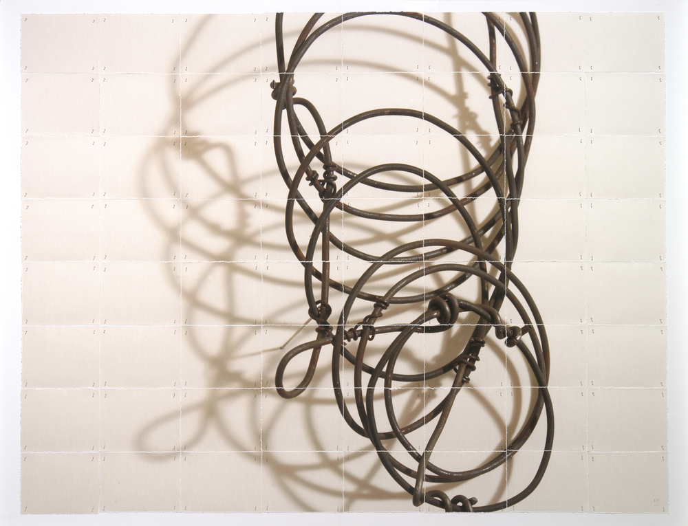 "Coil, 2013, torn and pinned photo of wire work, 40"" x 50"""